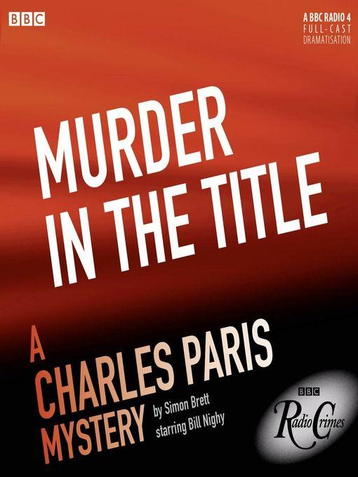 Drama/Fiction Charles Paris Mystery BBC Radio Crimes by