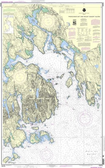 """NOAA Nautical Chart 13318: Frenchman Bay and Mount Desert lsland is a standard navigation chart used by commercial and recreational mariners alike. Printed """"on-demand"""" with water resistant paper, it c"""