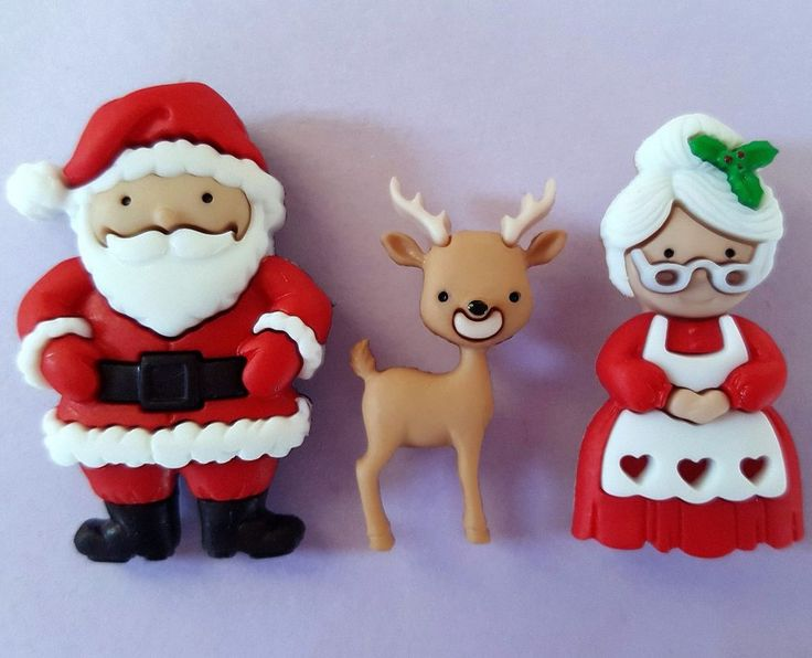 MR and MRS CLAUS - Father Christmas Santa Reindeer Dress It Up Craft Buttons