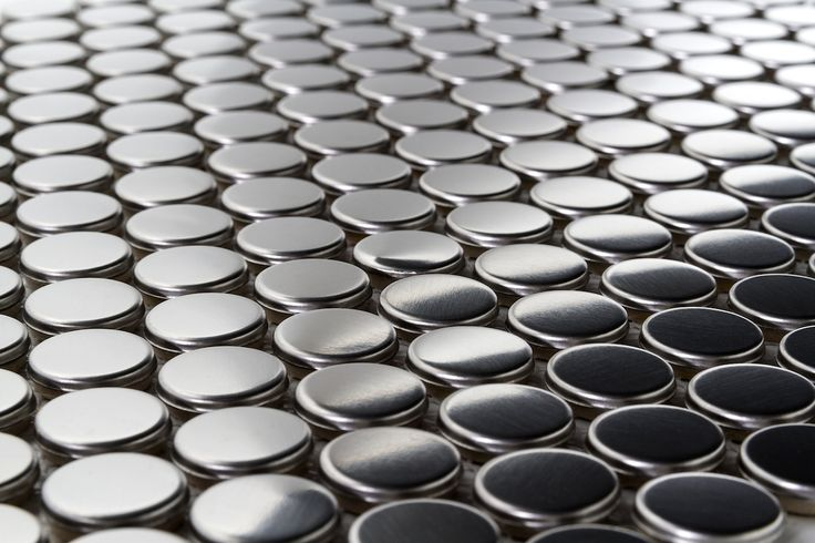 Stainless Steel Pennyround Metal Mosaic Tile available online from TheBuilderDepot.com for $14.95 a square foot.