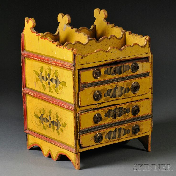 Classical Stencil and Paint Decorated Miniature Yellow-painted Chest of Drawers