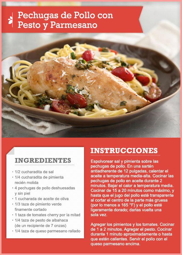 77 best recipe cards tips images on pinterest recipe cards pechugas de pollo con pesto y parmesano quericavida forumfinder Images