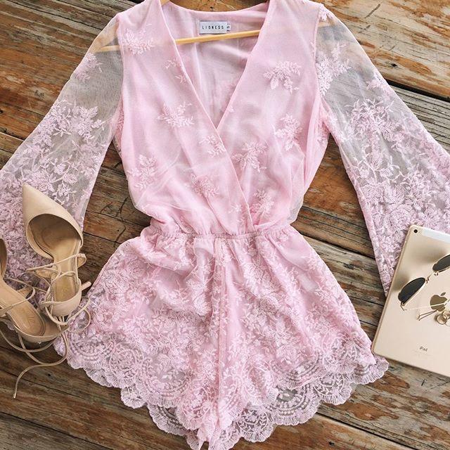 Pale Pink | Lace | Playsuit | V Neck | Elegant   Shop the Bad Romance Playsuit now!   http://www.muraboutique.com.au/products/bad-romance-playsuit-pink?variant=21088503303   #muraboutique