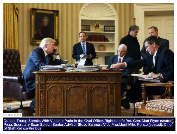 Donald Trump making a phone call with Vladimir Putin while sitting at the Resolute Desk of the Oval Office surrounded by five advisors ... by quapan