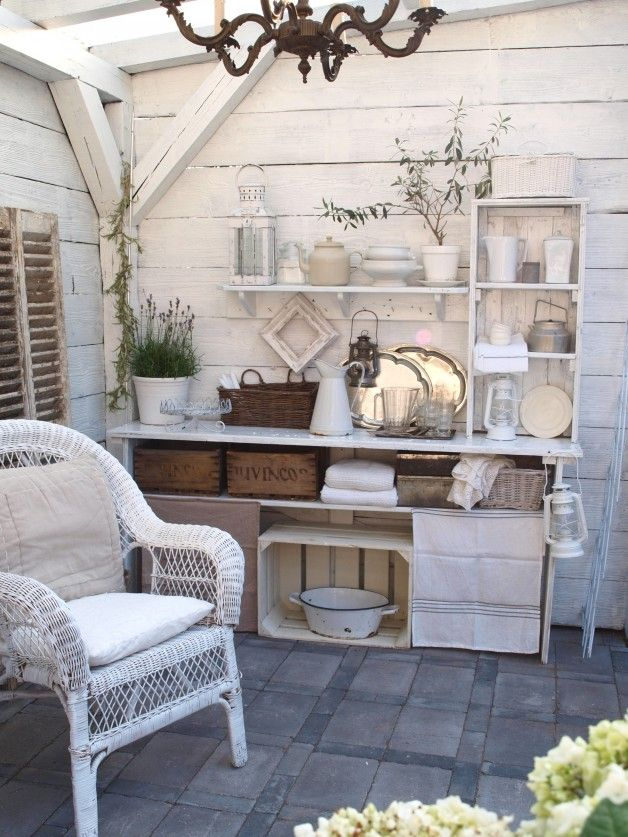 Vintage storage solution in a quaint conservatory.