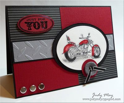 Motorcycle_Red_BlackMotorcycles Cards, Masculine Birthday Cards, Man Cards, Guys Cards, Fathers Birthday Cards, Masculine Cards, Man Scrapbook Cards, Paper Crafts, Red Black