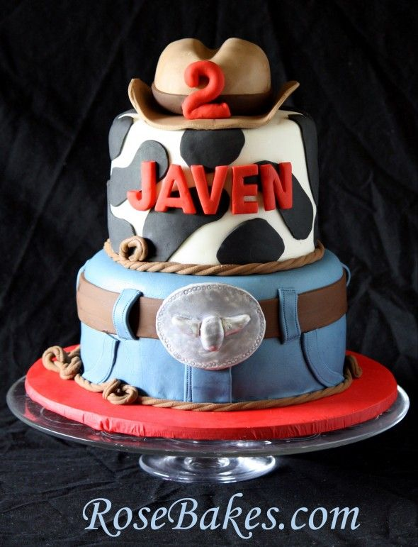 Hop over to see 4 different Cowboy Western Cakes plus a picture tutorial on how to stack cakes!!