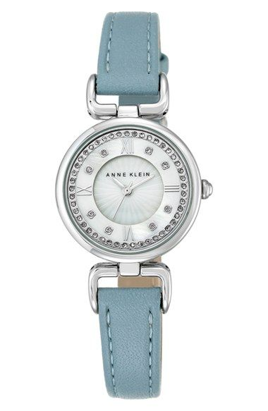 Anne Klein Crystal Dial Leather Strap Watch, 28mm