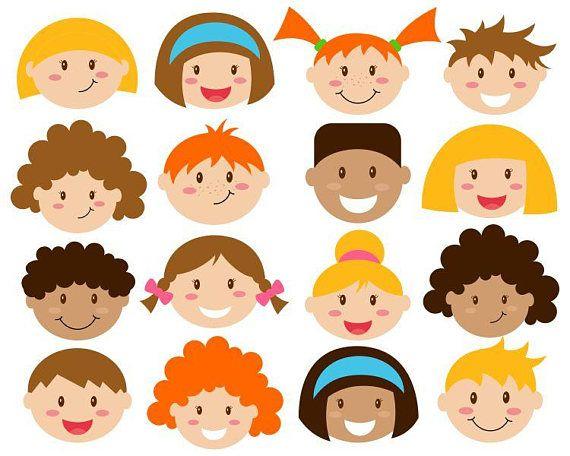Kids Faces Digital Clipart Cute Kids Clip Art Children Head Etsy Kids Clipart Art For Kids Clip Art