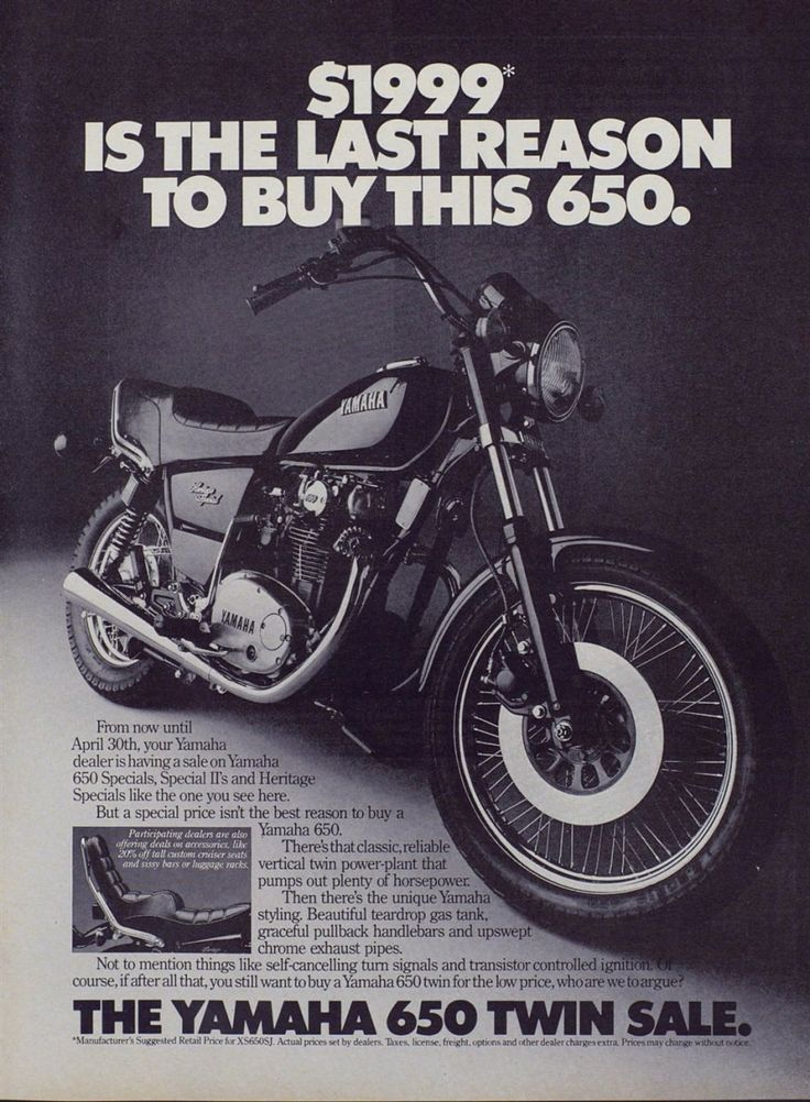 Superb Motorcycle Ads #3: Yamaha 650 Twin Motorcycle Ad From 1982