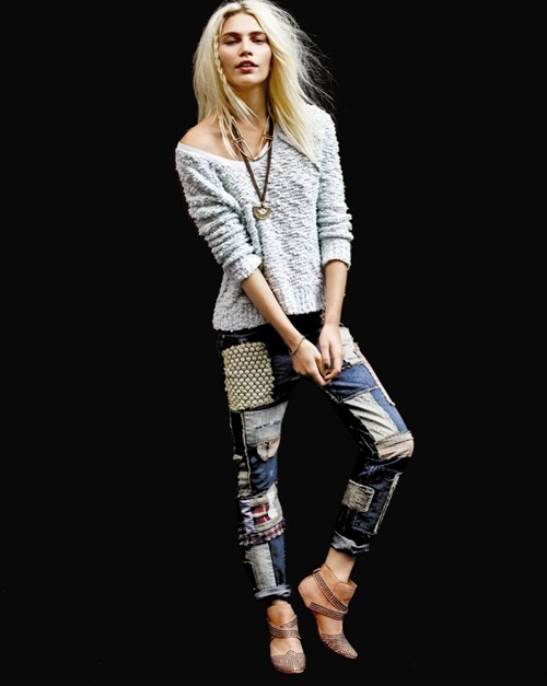 Karlie KlossA Mini-Saia Jeans, Patchwork Jeans, Patches Slim, Fashion, Style, Freepeople, Slouch Jeans, Slim Slouch, Free People