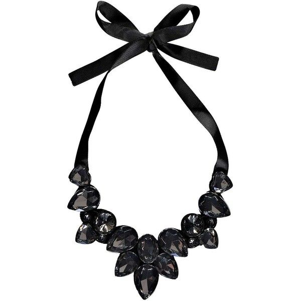 Boohoo Kia Ribbon Tie Statement Necklace (£5.27) ❤ liked on Polyvore featuring jewelry, necklaces, accessories, colar, black, cross necklace, black statement necklace, bib statement necklace, black jewelry and black ribbon necklace