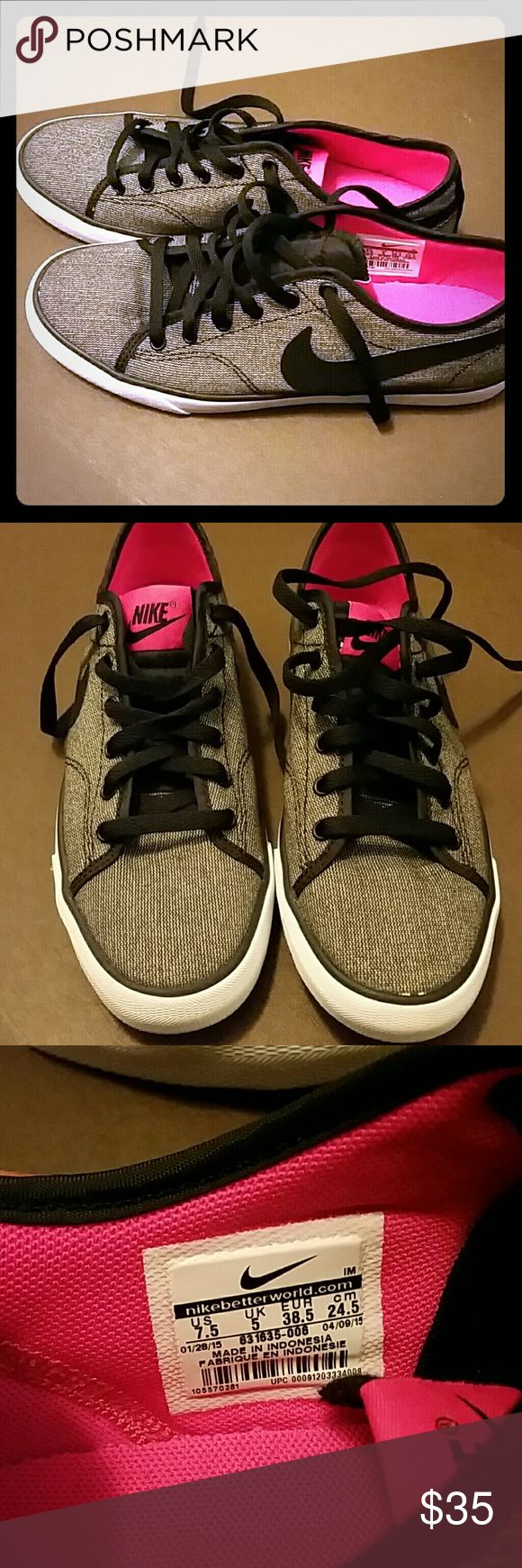 Nike Primo Court Canvas sneakers Nike canvas sneakers, New in box, never worn. Grey, black and pink with white soles Nike Shoes Sneakers