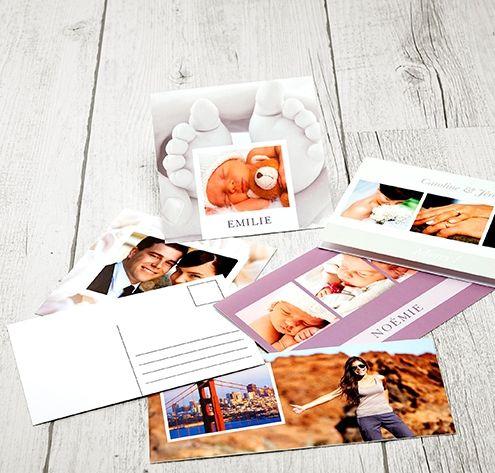 Fabriquez vos cartes postales ou cartes d'invitations en ligne.  Surprenez vos proches avec une carte postale personnalisée, ils vont adorer ! 15.90 euros le lot de 12 cartes postales #carte #invitation #invitation mariage #faire-part