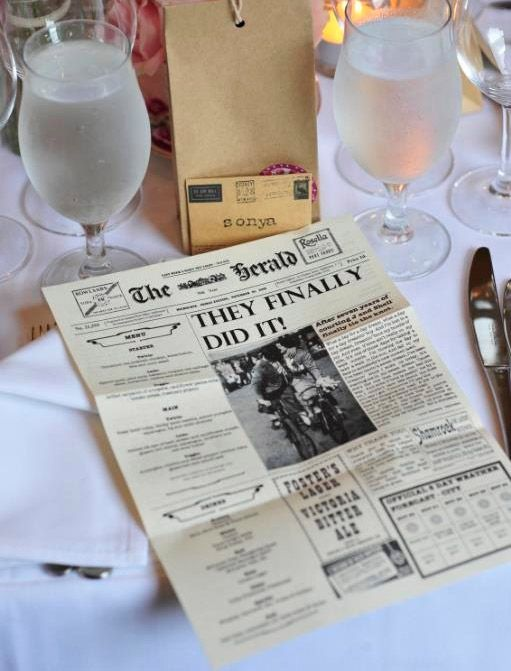 16 Creative Menu Cards and Displays: newspaper format. Or whatif we used it as a program idea?? Both the trib and Sun times!!?