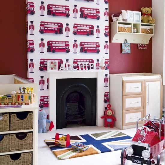 London-themed boy's bedroom with Union Jack accessories. The wallpaper is really cool :)