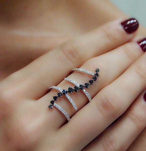 Black White Diamond Multi Band Ring Styles Ideas Fine Jewelry Online Multi Band Ring Fashion Rings