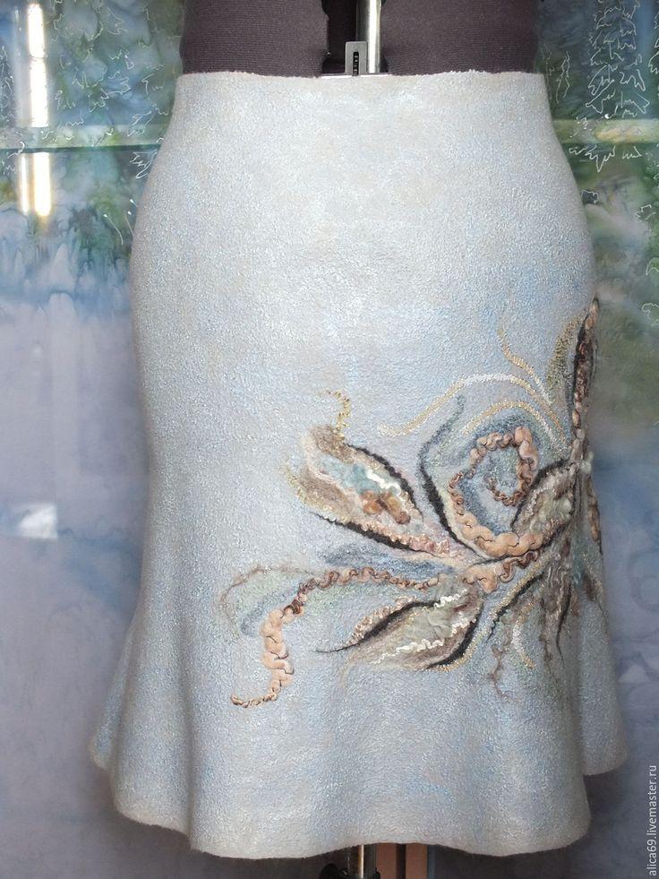Купить Валяная юбка... Весна-лето - серый, юбка, валяная юбка, юбка из шерсти