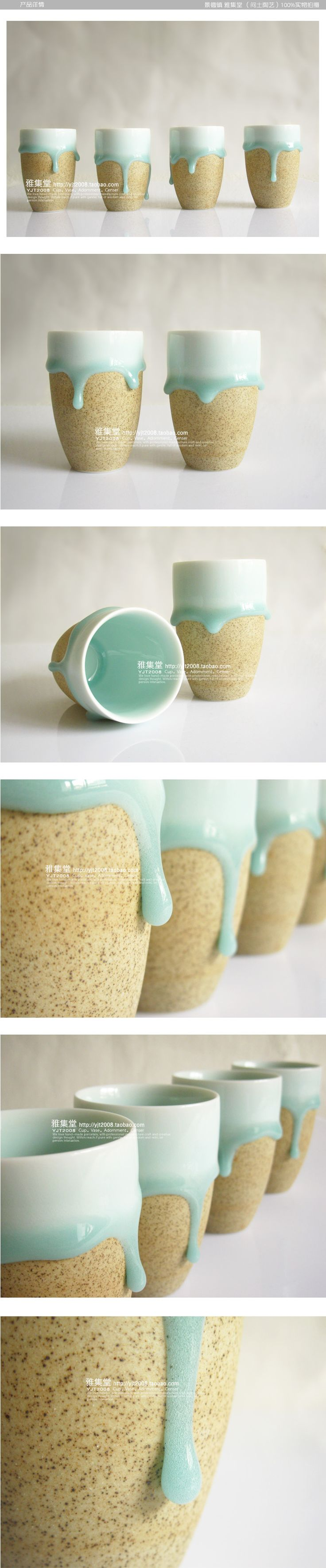 Ceramic cups by taobao - I love these! The beauty of them, the simplicity, the dual textures in your hand, the illusion of movement the drops create, the gentle earth tone colors. Of course they are by a Japanese artist...beautiful.