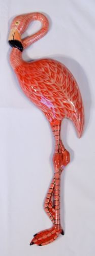 Hand-Painted-10-034-Pink-Flamingo-Bird-Wall-Mount-Decor-Sculpture-82F