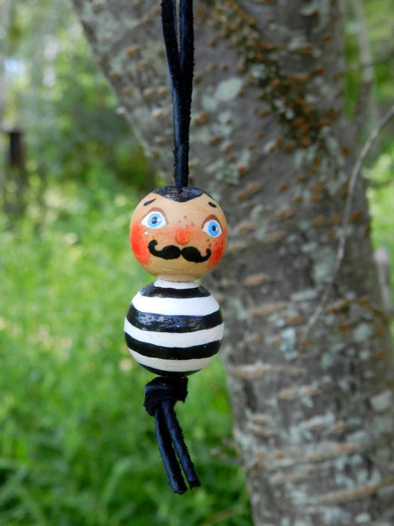 handpainted wooden bead necklace circus man stripes by malinkaartz