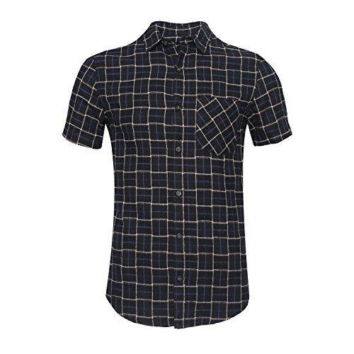 Deborri Men's Button Down Short Sleeve Plaid Flannel Shirt black s  Deborri Men's Button Down Short Sleeve Plaid Flannel Shirt black s-B074GPGTKV-17.99-20  Expires Oct 1 2017