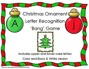 Students will have fun learning their letters / letter sounds with this game. Students pull a card out of a Christmas Stocking and say the letter name / sound. How many can you get before you get a Christmas tree card. Played similarly to Bang / Boom. Includes a color and Black & White version  Includes: 26 Upper Case Letters in color and black & white 26 Lower Case Letters in color and black & white 18 Christmas Tree Cards in color and black & white
