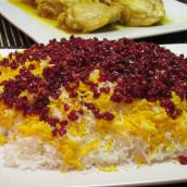 Zereshk Polo (Barberry Rice) - One of my favorites. You usually eat this with chicken in tomato sauce. The sour berries with the sugar and the Saffran, just fireworks for the tastebuds :)