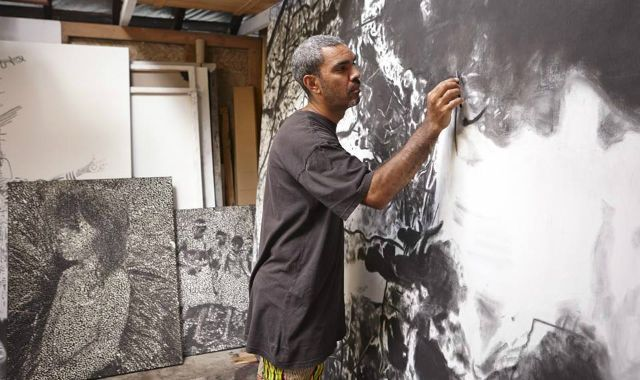 """The Art Gallery of New South Wales has announced Indigenous Australian artist Daniel Boyd  as the winner of the 2014 Bulgari Art Award for his work """"Untitled,"""" 2014. The $80,000 award, which consists of a $50,000 painting acquisition and a residency in Italy valued at $30,000, is one of the most valuable art awards in Australia."""