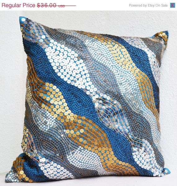 4th of july sale blue throw pillows with silver by amorebeaute