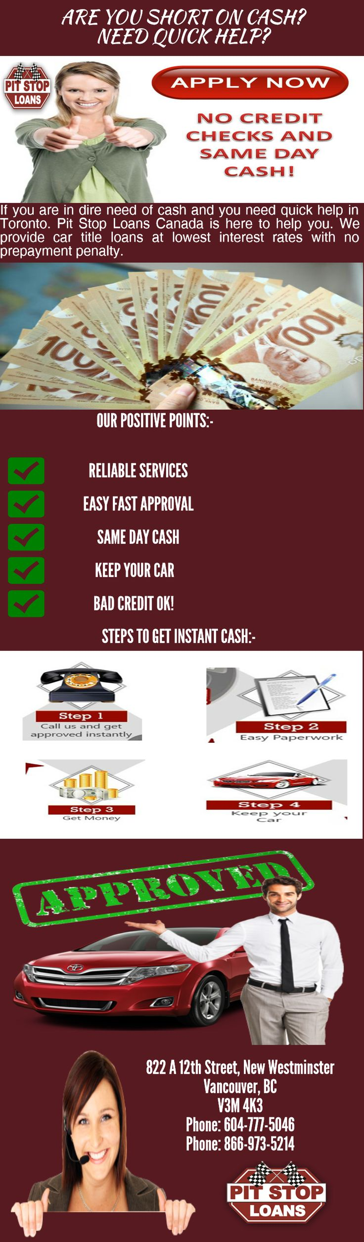 Get quick and instant approval on your car title loans in Toronto with Pit Stop Loans Canada. We offer title loans at lowest interest rates with no prepayment penalty. For more information visit http://www.pitstoploans.com/car-title-loans-toronto-great-option-for-emergency-cash