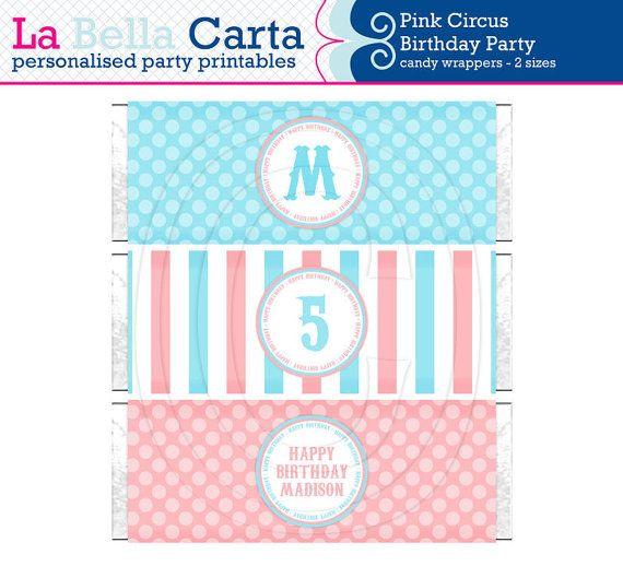 Pink Circus Printable 1.55 & 4.4oz Candy Wrappers, Circus Party, Printable Party, DIY Party, Circus Printable, DIY Party Decor