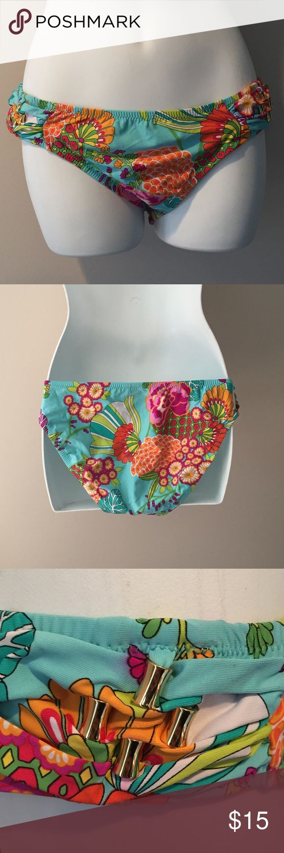 Trina Turk blue floral bikini bottoms. Size 10 Like new Trina Turk blue floral bikini bottoms. Size 10 Trina Turk Swim Bikinis