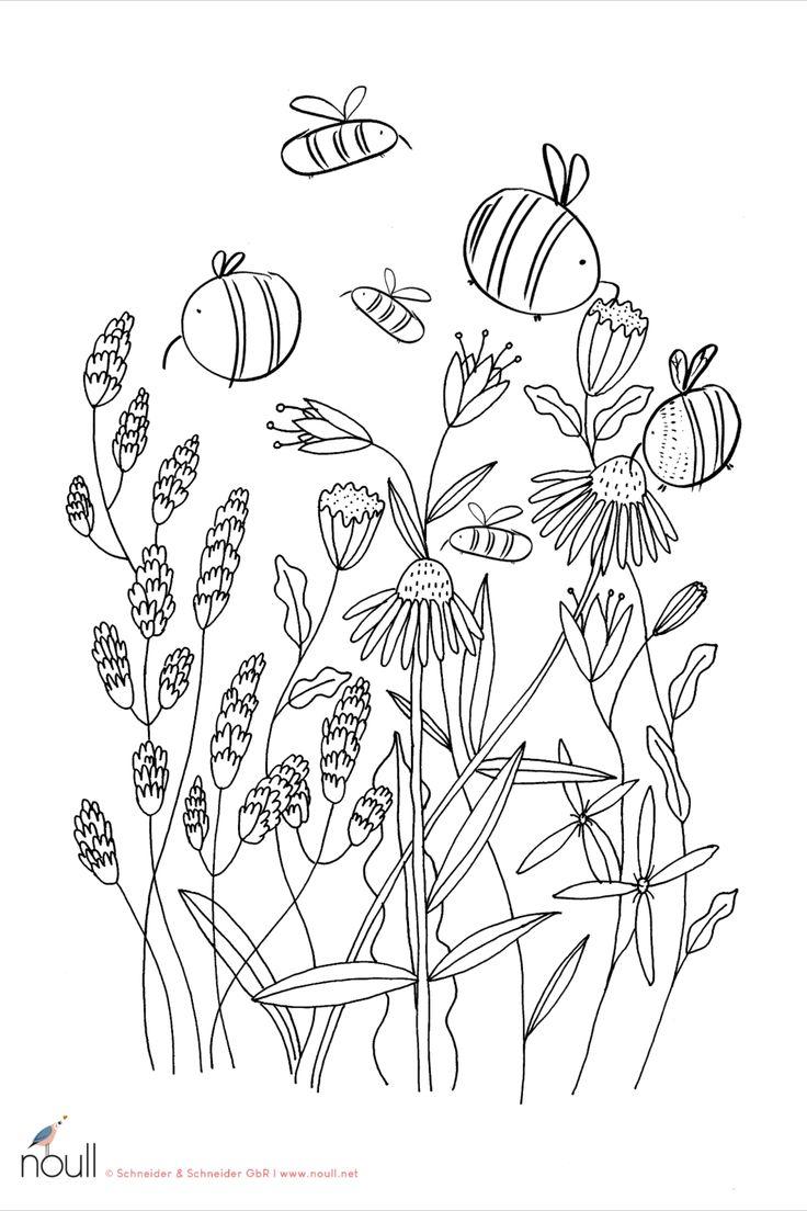 FREEBIE - Ein Blumengarten voller emsiger Bienen  Ausmalbild