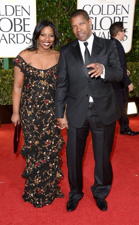 Denzel Washington, with daughter Pauletta Washington (Denzel in Armani) - Golden Globe Awards 2013 Red Carpet