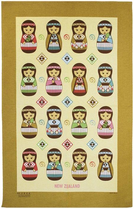 Maori Dolls Tea Towel