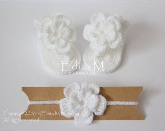 Crochet baby sandals and headband set gladiator by EditaMHANDMADE