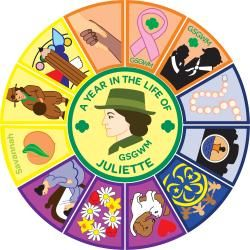 A Year in the Life of Juliette Low Patch program from GSGWM- each month you work on a differernt patch- can be ordered from their council!
