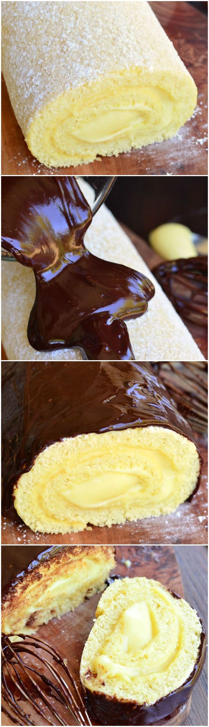 Boston Cream Cake Roll. Soft, fluffy cake is rolled with creamy homemade custard and topped with a layer of rich chocolate ganache.
