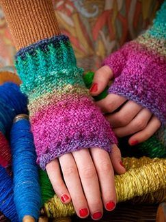 Noro Crochet Bobbled Mitts from Yarnologue blog: Love these, too!
