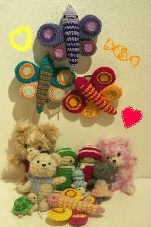 My amugurumi butterflies on the walls of RESOBOX WORLD AMIGURUMI EXHIBITION OPENING 12th OF DECEMBER #amugurumi #butterflies