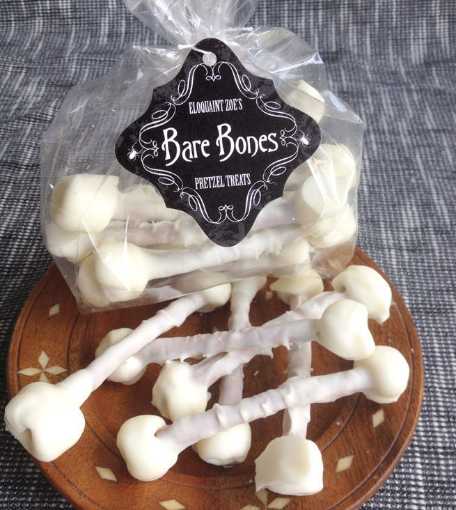 BARE BONES  Ingredients:  Makes 10 Bones per every 2 Ounces (which is the size of each square in the typical almond bark package)  • 12 Ounces of Almond Bark  • 1 Bag of Pretzels (with or without salt- your choice!)  • 1 Bag of Mini Marshmallows  • 6-12 Teaspoons Vegetable Oil