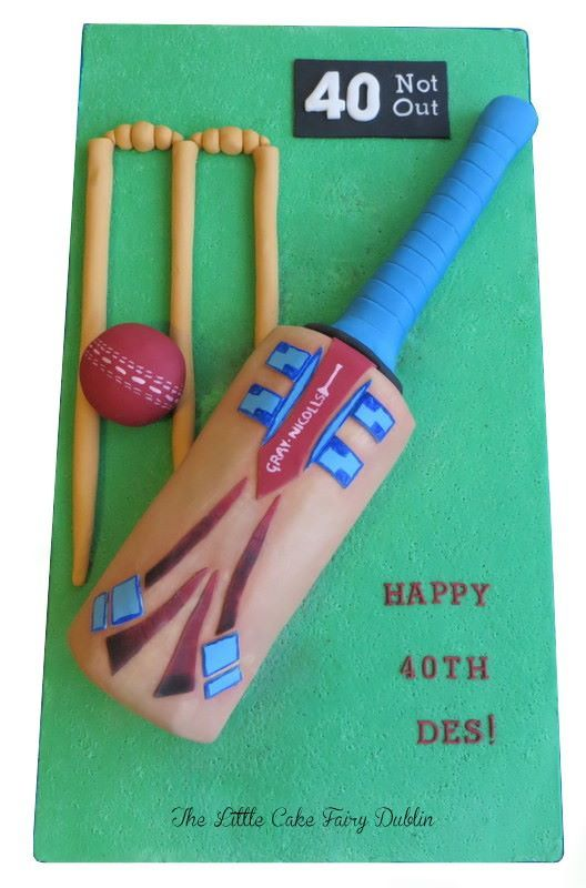 40th birthday Gray Nicholls Cricket bat cake for a Cricket fan www.littlecakefairydublin.com www.facebook.com/littlecakefairydublin