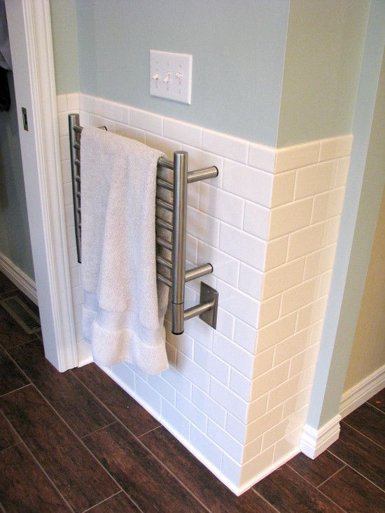 heated towel bar...Traditional Bathroom White Tile Bath Design, Pictures, Remodel, Decor and Ideas - page 543