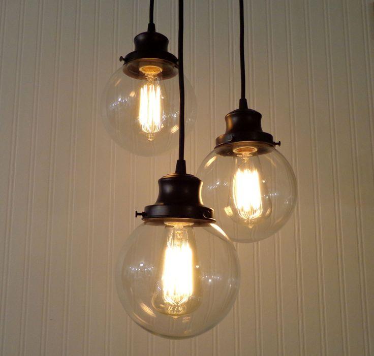 Biddeford II  CHANDELIER Light Trio - Glass Ceiling Flush Mount Lighting Bathroom Kitchen Fixture Farmhouse Mid-Century Track Fan LampGoods by LampGoods on Etsy https://www.etsy.com/listing/150363369/biddeford-ii-chandelier-light-trio-glass