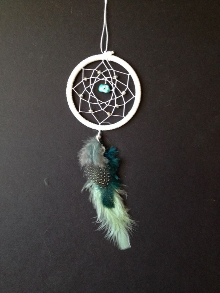 Dream Catcher for Car Mirror- White, Turquoise, Silver Beads by ReinaDreamcatchers on Etsy https://www.etsy.com/listing/201574081/dream-catcher-for-car-mirror-white