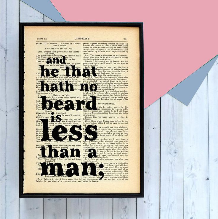 From Bookishly. Shakespeare Beard Lover Quote - Framed Book Page Print