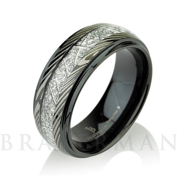 Trending Black Mokume Mens Meteorite Wedding Band by BravermanOren on Etsy
