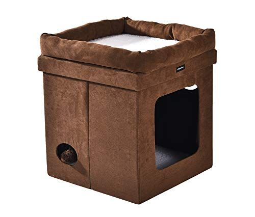 Amazonbasics Collapsible Cube Cat Bed 15 X 15 X 17 Inches Brown
