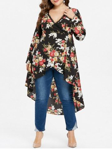 77d235c325393 Shop for BLACK 5X Floral High Low Plus Size Blouse online at  23.92 and  discover fashion at RoseGal.com
